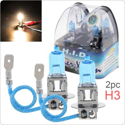 2pcs 12V H3 55W 6000K White Light Super Bright Car Halogen Lamp Auto Front Headlight Fog Bulb