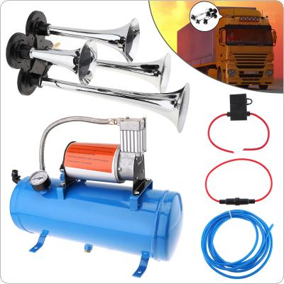 Super Loud  4 Trumpet Air Horn 150psi 12V 6L Mini Electric Air Horn Compressor Kit Blue Tank Gauge for Car Train Truck