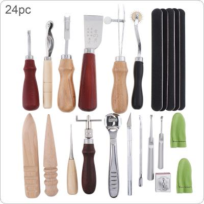 24pcs/set DIY Leather Craft Tools Kit Hand Sewing Stitching Punch Carving Work Saddle Leather Craft Accessories Practical for DIY