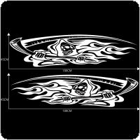 2pcs/pair 180 x 45CM PVC 3 Colors Skull Death Animation Pattern Creative Refit Car Racing Side Body Sticker