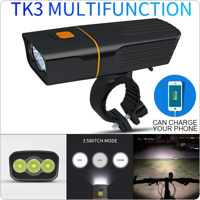 TK3 3T6 LED USB Rechargeable Power Bank Built-In 2 x 18650 Batteries with 3 Modes and 360 Degree Rotary Bracket Waterproof Bicycle Headlight for Night Riding