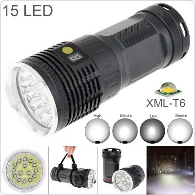 Power Display 15 XM-T6 LED 8000 Lumens Waterproof IP65 Aluminium Alloy Flashlight with 4 Modes Light and DC USB Cable + Portable Sachet