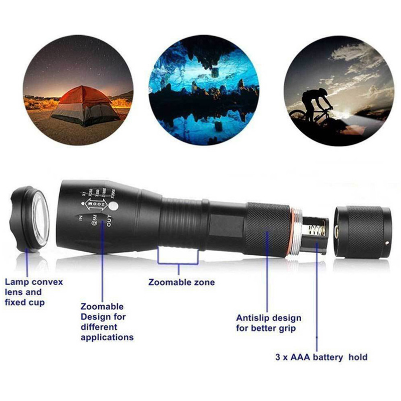 Waterproof 8000LM T6 LED Zoomable 3 Colour Flashlight Torch Hunt Light Super Bright 5 Modes Strobe Support 18650 / AAA Battery Exchange Lens Red Green White