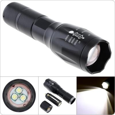 3 XML-T6 LED 3000LM 5 Modes Lights Telescopic Zoom Mini Black Aluminum Alloy Strong Flashlight with 300M Range Support One 18650 Battery