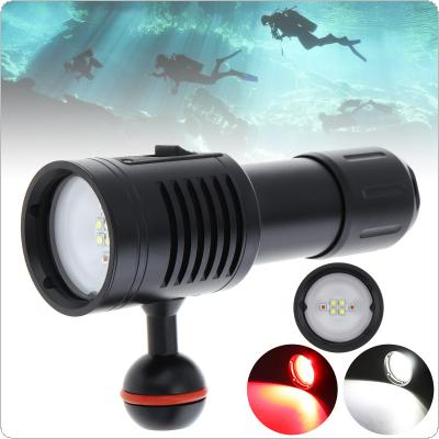 Professional Diving Underwater 100m Scuba Video Light 80W 8000LM 4 XML2 + 2 Red LED + 120 Degree Photography Video Dive Flashlight Lamp+Spherical Bracket+Sachet