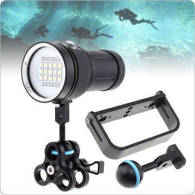 Professional Diving Underwater 100m Scuba Video Light 15 XML2+6 Red+6 UV LED Photography Video Dive Flashlight +Portable Sachet+Spherical Bracket+Butterfly Clip