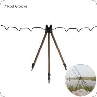 Aluminum Alloy Telescopic 7 Groove Fishing Rod Holder Coffee Collapsible Tripod Stand Sea Fishing Pole Bracket