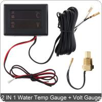 12V / 24 V  Universal 2 In 1 Digital Anti Shake Water Temperature Gauge + Volt Gauge with Sensor for Car / Truck