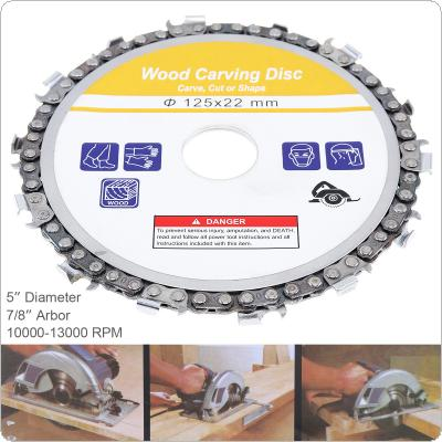 5 Inch 125 x 22mm 14 Tooth Grinder Disc Wood Carving Disc Angle Fine Abrasive Cut Chain Disc Timber Slotted Sawblade