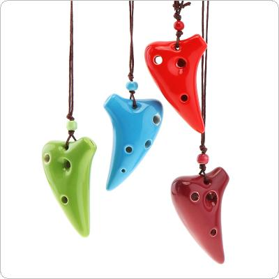 Mini 6 Holes Alto ToneC Necklace Ocarina Ceramic Flute Instrument with Hang Rope 4 Colours Optional
