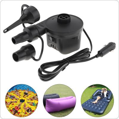 DC 12V Black Portable Mini Replaceable Car Emergency Air Pump Electrical Suction / Inflatable Pump with 3 Nozzles