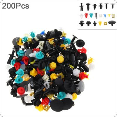 200pcs 20 Kinds Universal Plastic + Metal Car Body Bumper  Push Pin Clip Rivets Fastener Expansion Screws Kit