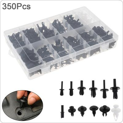 350pcs 12 Kinds Universal Plastic Car Body Bumper  Push Pin Clip Rivets Fastener Expansion Screws Kit with Transparent Storage Box