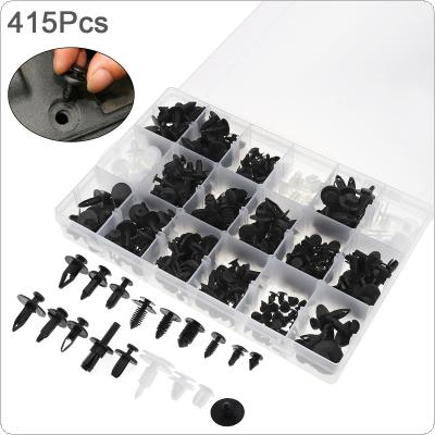 415pcs 18 Kinds Universal Plastic Car Body Bumper Push Pin Clip Rivets Fastener Expansion Screws Kit with Transparent Storage Box