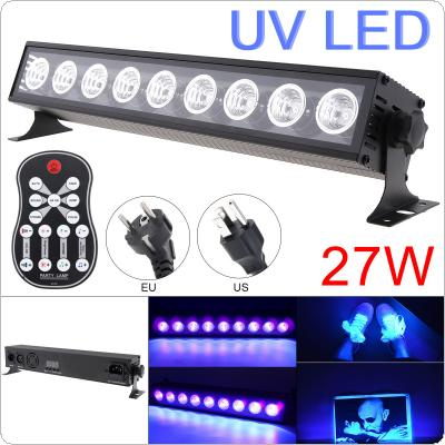 27W 50-60Hz 9 LEDs UV Black Light Remote Control Purple Light Bar with Automatic / Voice Control / DMX512 for Stage / Disco / Club Party / Christmas /Halloween