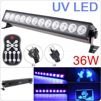 36W 50-60Hz 12 LEDs UV Black Light Remote Control Purple Light Bar with Automatic / Voice Control / DMX512 for Stage / Disco / Club Party / Christmas /Halloween
