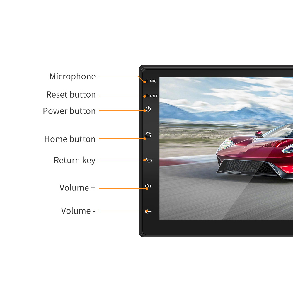 7 Inch 2Din Bluetooth QUAD Core Android  Car Radio Stereo MP5 Multimedia Player 1024x600 Digital Touch Screen GPS Navigation Support Mirror Link