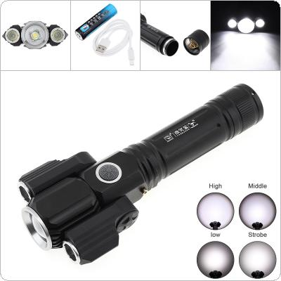 E38 T6 Super Bright 400m Lumens Rechargeable Flashlight Water Resistant Zoomable with 2 Wing Light and 4 Lighting Modes LED Torch for Outdoor Hiking Riding