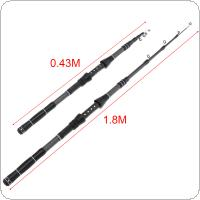 1.8m Carbon Fiber Telescopic Fishing Rods Fasten Guides Ultra Short 6 Section Portable Fishing Pole