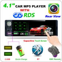 P5130 4.1 Inch 1 Din Bluetooth Touch Screen Multimedia MP5 Player Auto Stereo Radio with RDS Support Microphone and Rear View Camera