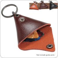 Genuine Leather Trangle Guitar Ukulele Picks Plectrums Pocket Cover Case Stroage Soft Bag Keychain Shape Guitar Accessories
