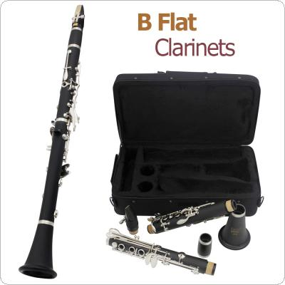 17 Key bB Flat Clarinet Bakelite Body Nickel Silver Plated Keys with Tube Cloth Screwdriver and Storage Box