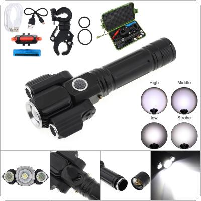 Super Bright 300m 2000 Lumens Waterproof Zoomable Rechargeable Flashlight Suit with 2 Wing Lights and 4 Lighting Modes LED Torch for Outdoor Hiking Riding
