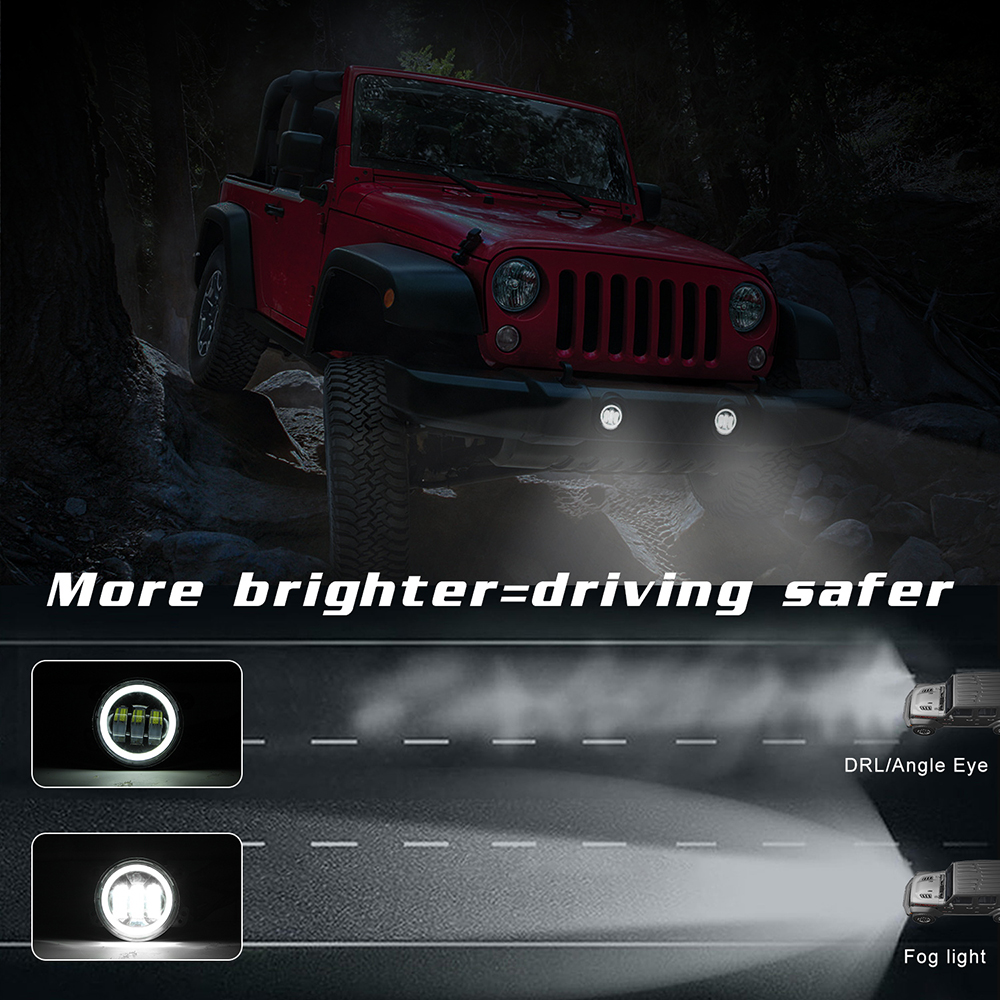 2pcs 4 Inch 30W 6000K 1200 Lumens Super Bright Round Led Driving Fog Lights with White Halo Ring Off Road WaterProof for Jeep Dodge Chrysler