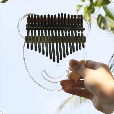 17 Key Simulation Crystal Transparent Bear Face Shape Thumb Piano Kalimba Mbira with Tuning Hammer