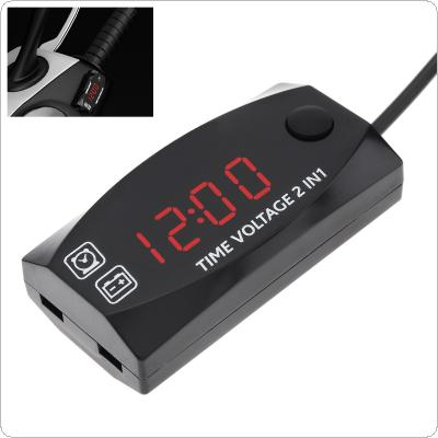 Portable 2 In 1 Waterproof Durable Electronic Clocks Display Digital LED High Accuracy Voltage Volt Gauge Voltmeter Motorcycle