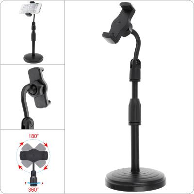 Extendable Live Broadcast Cell Phone Holder with 360° Rotation Microphone Clip and Lifting Mount Stand for Studio Video Chatting