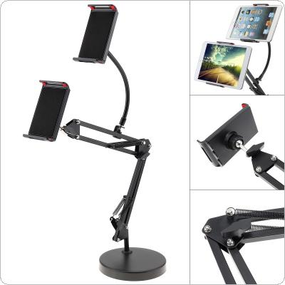 Extendable Double Tablet Cell Phone Holder with Suspension Boom Scissor Long Arm Mount Stand for Broadcast Studio Video Chatting