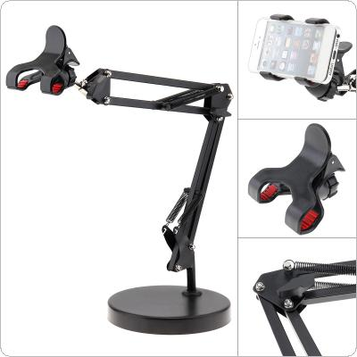 Extendable Cell Phone Holder with Suspension Boom Scissor Long Arm Mount Stand for Live Broadcast Studio Video Chatting