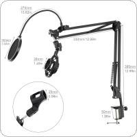 Multifunction Shockproof Microphone Holder Bracket with Double Layer Microphone Pop Filter and Table Clip for Live Broadcast Studio Speaking Recording