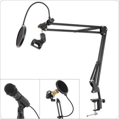 Multifunction Microphone Holder Bracket Adjustable Table Clip with Double Layer Microphone Pop Filter for Live Broadcast Studio Speaking Recording