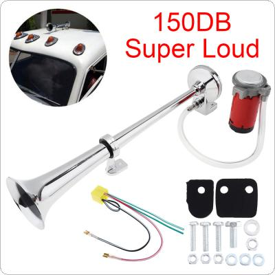 12V 17 Inch 150DB Super Loud Truck Single Trumpet Air Horn Kits with Compressor for Truck Lorry Boat Train