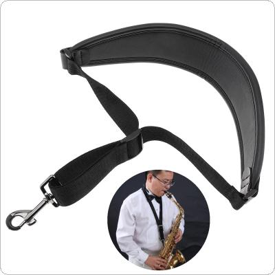 Kid Goat Genuine Leather Adjustable Saxophone Neck Strap with Snap Hook Single Shoulder Strap for Saxophone