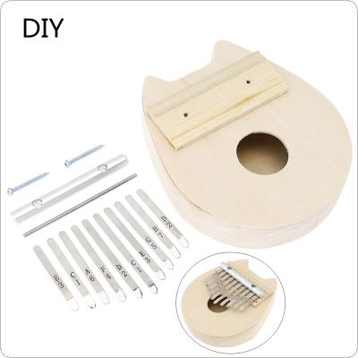 10 Key Cat Shape Kalimba DIY Kit Basswood Thumb Piano Mbira for Handwork Painting Parents-child Campaign