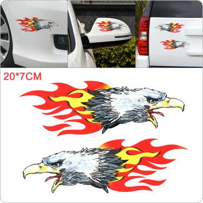 1 Pair 20 x 7cm PVC Flame Eagle Pattern Outdoor Reflective Car Motorcycle Body / Bumper / Hood / Decals Window / Scratch Sticker