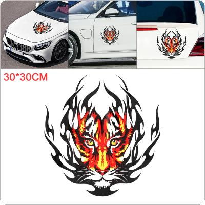 30 x 30cm PVC Reflective Tiger Head Pattern Waterproof Car Hood Motorcycle/ Car Body / Bumper / Decals Window / Scratch Sticker