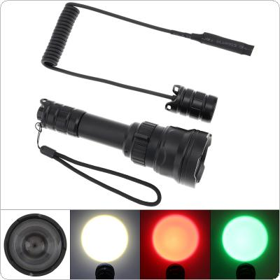 B198 Hand Held Rotary Focusing LED Outdoor Tactical Flashlight with White + Red + Green Three-color Light + Remote Pressure Switch Fit  for Hunting