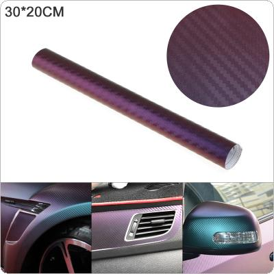 30 X 20cm PVC 3D Carbon Fiber Blue / Purple Discolor Automobile Decoration Modification Sticker Fit for Car / Motorcycle / Electronic Product / Home