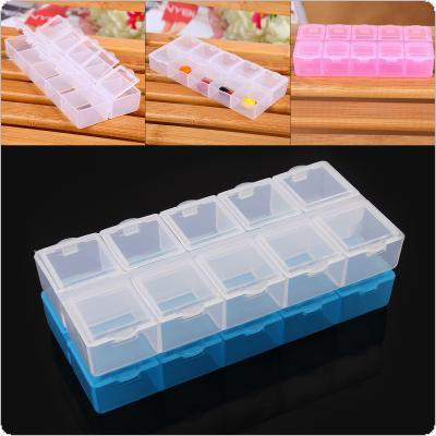 3 Colors Large 10 Grid PP Double Row Multipurpose Organizer Container Storage Box Fit for Household Daily / Cosmetic / Jewelry / Tool Parts
