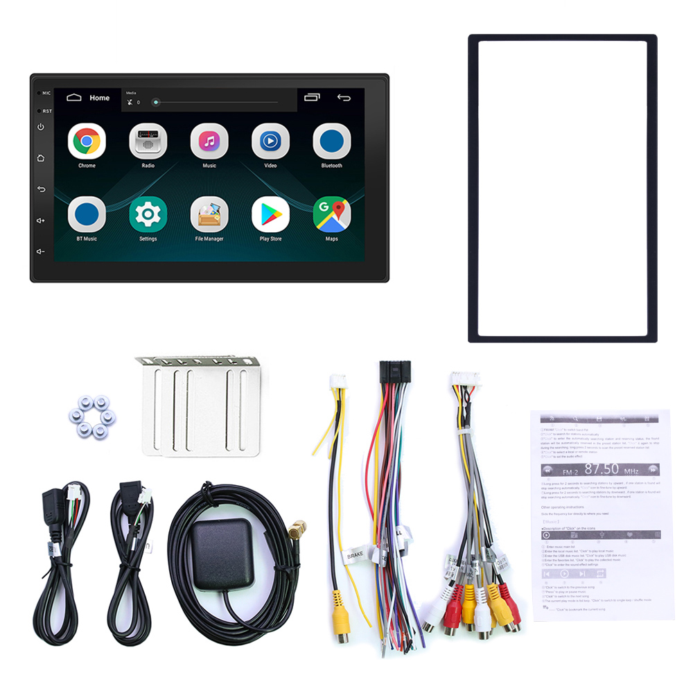 2 DIN 7 Inch QUAD core Android 8.1  HD Capacitive Touch Screen Bluetooth Car Stereo FM Radio MP5 GPS Navi Player Support Mirrorlink / Steering Wheel Control