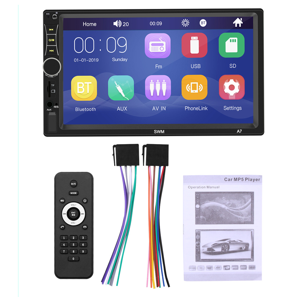 2 DIN 7 Inch HD Touch Screen Bluetooth Car Stereo FM Radio MP5 Audio Player Support Mirror Link / Steering Wheel Control / Phone Charging