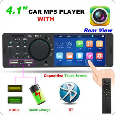 4.1 Inch 1 Din Dual USB Bluetooth Touch Screen Multimedia MP5 Player Auto Stereo Radio Support Fast Phone Charging and Rear View Camera