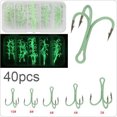 40pcs/lot High Carbon Steel Crank Treble Hook 2# 4# 6# 8# 10# Luminous Fishing Hooks