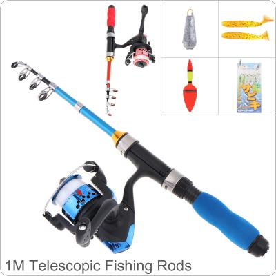 1m Ultra Short Portable Ice Fishing Rod Reel Line Combo Full Kits with Soft Shrimp Lure Float Lead weight