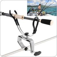 Stainless Steel Fishing Rod Support Stand Clamp Holder for Boat / Canoe and Kayak Handrail