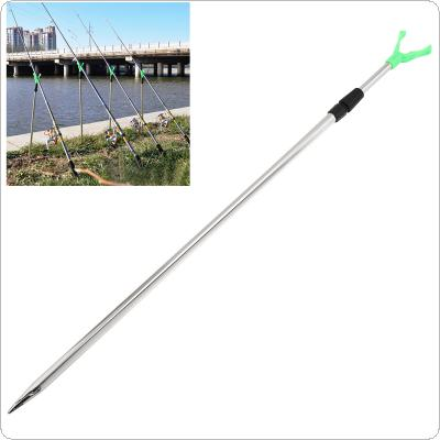 71-113cm Fishing Rod Ground Inserted Stand 2 Sections Aluminium Fishing Pole V Holder Support Bracket for Telescopic / Hand Fishing Rod